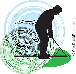 wektor, golfer., ilustracja