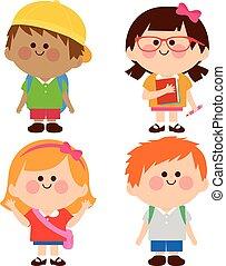 wektor, grupa, dzieci, ilustracja, students.