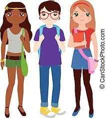 wektor, grupa, nastolatek, ilustracja, students.