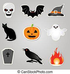 wektor, halloween, elementy