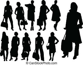 wektor, -, handlowe kobiety
