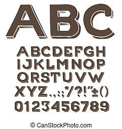 wektor, handwritting, alfabet, interpunkcja, beletrystyka, ręka, abc, takty muzyczne, font., znaki, drawin, typ