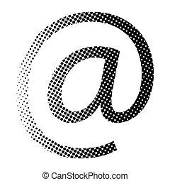 wektor, ikona, e-poczta, znak, halftone, symbol, design.