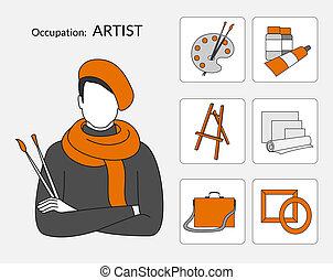 wektor, ikony, komplet, artysta