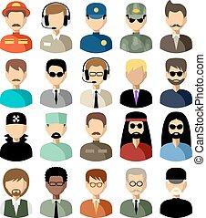 wektor, ikony, komplet, płaski, men., ilustracja