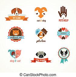wektor, ikony, -, koty, pieszczochy, psy, elementy