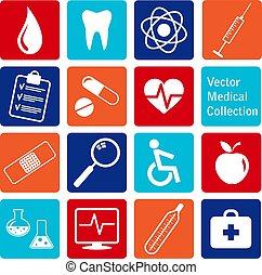 wektor, ikony, medyczny, zbiór