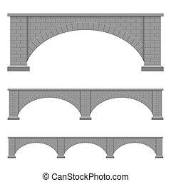 wektor, ilustracja, odizolowany, projektować, most, kamień, tło, biały
