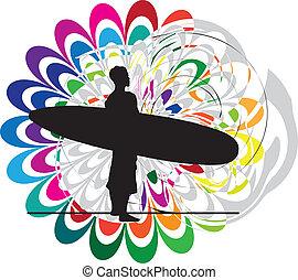 wektor, ilustracja, surf.