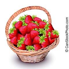 wektor, ilustracja, truskawka, basket., owoce, świeży