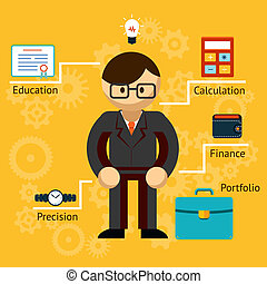 wektor, informacja, biznesmen