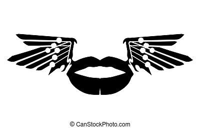 wektor, isolated., wings., usteczka, ilustracja, pocałunek, przelotny, eps10, czarnoskóry, zamknięcie, miłość, sylwetka, do góry, warga