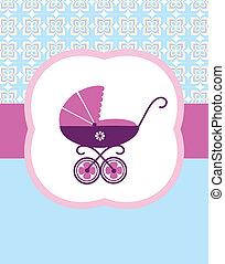 wektor, karta, urodzenie, wózek, niemowlę, ilustracja, design.