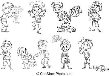 wektor, kiepski, ilustracja, rysunek, character., zabawny, behavior.