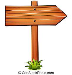 wektor, kierunek, drewno, rysunek, znak