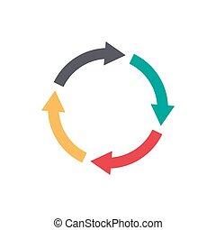 wektor, koło, strzały, infographic