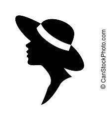 wektor, kobieta, hat-