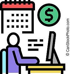 wektor, kolor, online handlarski, ikona, ilustracja, biznesmen