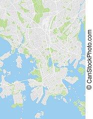 wektor, kolor, plan, miasto, ilustracja, mapa, szczegółowy, helsinki