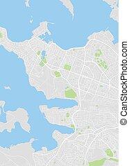 wektor, kolor, plan, miasto, reykjavik, ilustracja, mapa, szczegółowy