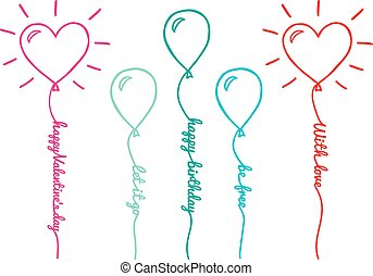 wektor, komplet, balony, tekst