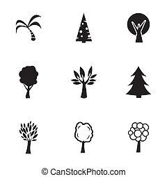 wektor, komplet, czarnoskóry, drzewa, ikony