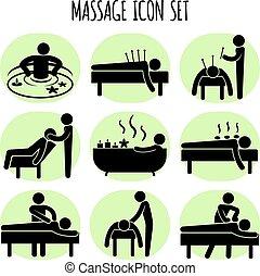 wektor, komplet, czarnoskóry, masaż, ikony