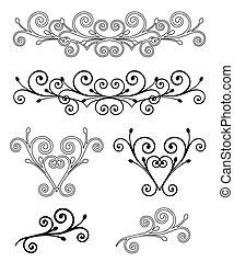 wektor, komplet, elements., ilustracja, elegancja