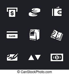 wektor, komplet, gotówka, icons., atm