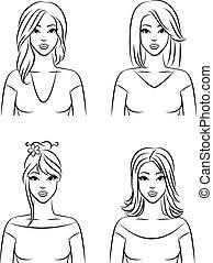 wektor, komplet, hairstyle., kobiety