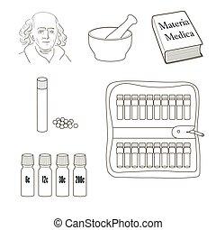 wektor, komplet, icons., homeopathy.