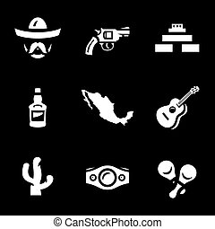 wektor, komplet, icons., meksyk