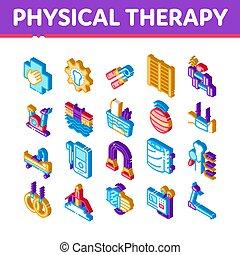 wektor, komplet, ikony, terapia, isometric, fizyczny