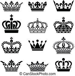 wektor, komplet, korona