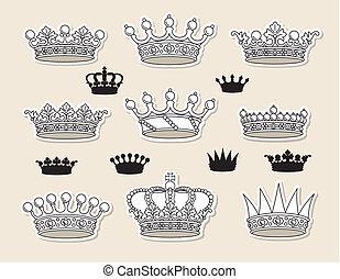 wektor, komplet, korony