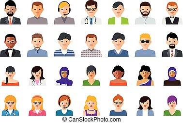 wektor, komplet, ludzie, barwny, ikony