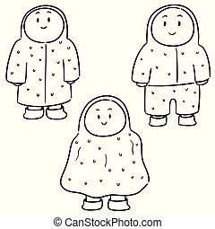 wektor, komplet, ludzie, płaszcz nieprzemakalny