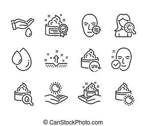 wektor, komplet, protection., ikony, skóra, słońce, problem, taki, piękno, zdrowie
