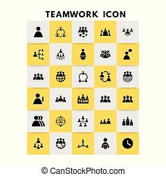 wektor, komplet, teamwork, ikony