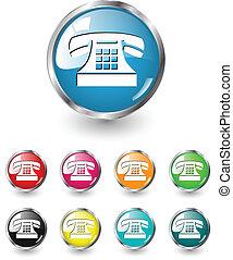 wektor, komplet, telefon, ikona