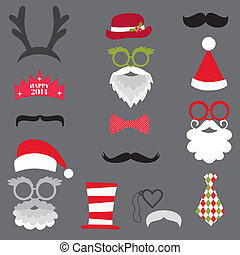 wektor, komplet, -, usteczka, okulary, maski, gwiazdkowe kapelusze, stragan, mustaches, fotografia, partia, projektować, retro