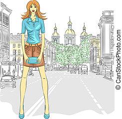 wektor, krótki, modny, pazur, st., torba, ulica, pociągający, dziewczyna, poła, petersburg