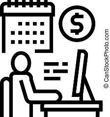 wektor, kreska, online handlarski, ikona, ilustracja, biznesmen