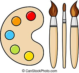 wektor, kropelki, drewniany, szczotki, malować, sztuka, paleta