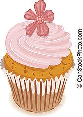 wektor, kwiat, cupcake