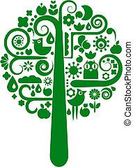 wektor, kwiat, drzewo, zwierzęce ikony