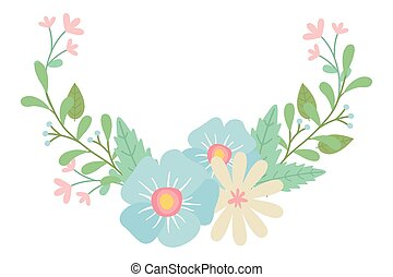 wektor, kwiaty, wieniec, projektować, odizolowany