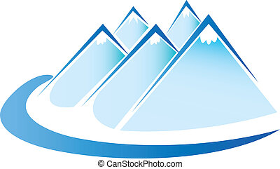 wektor, lód, logo, błękitne góry