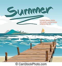 wektor, lato, pojęcie, stary, tło, płaski, drewniany, wyspa, przestrzeń, text., molo, plaża, urlop, plaża., ilustracja, morze, jacht, odległość., rysunek, krajobraz