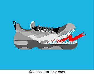 wektor, lekkoatletyka, sneakers, trzewik, monster., gniewny, obuwie, teeth., głodny, ilustracja, toothy